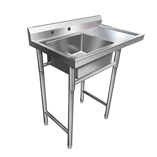 Tuffiom Commercial Stainless Steel Sink with Drainboard Heavy Duty
