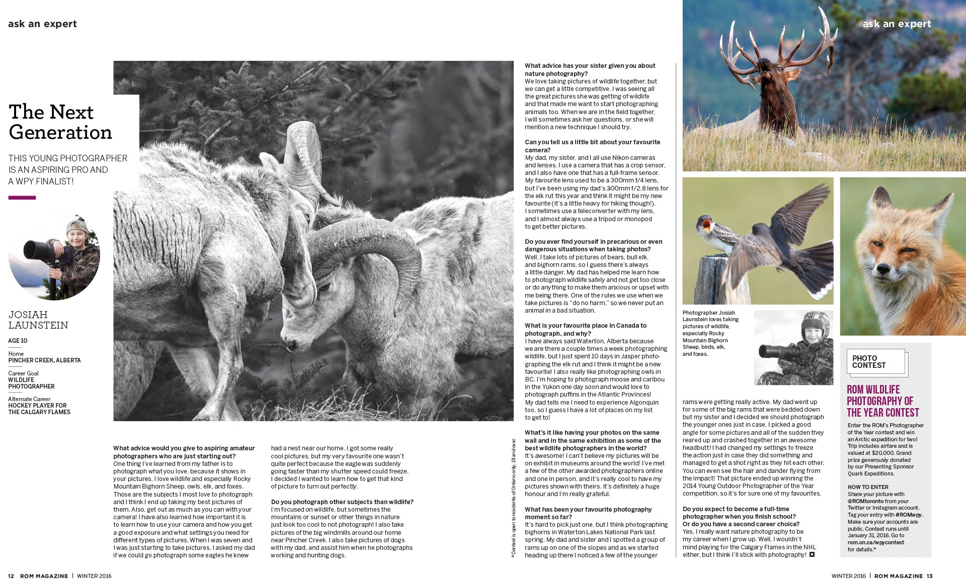 Josiah Launstein Feature in ROM (Royal Ontario Museum) Magazine on Wildlife Photographer of the Year Awards and his Wildlife Photography