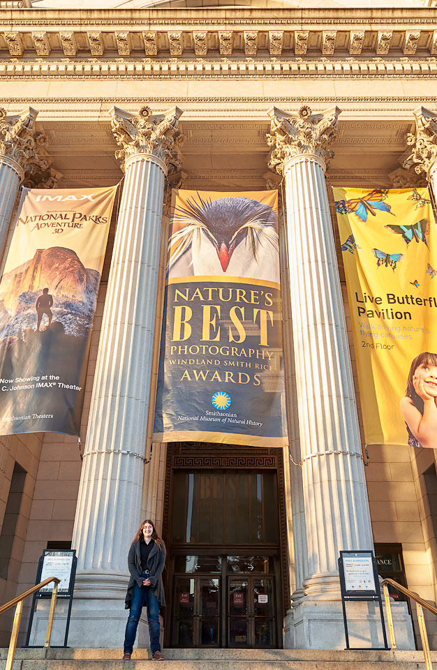 Jenaya Launstein at the Smithsonian National Musuem of Natural History in Washington, DC, for the opening of her work on exhibit with Nature's Best Photography.