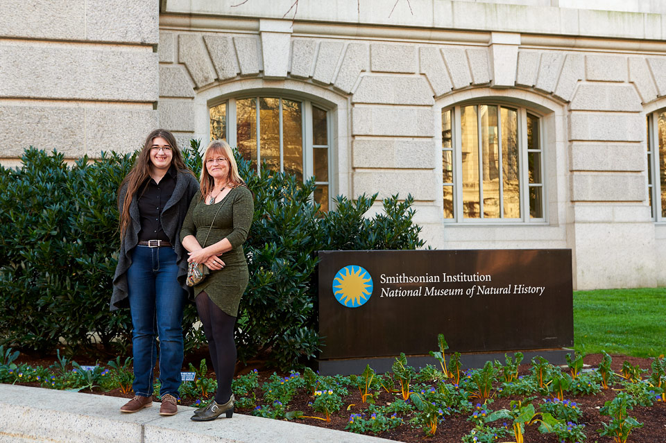 Jenaya Launstein (Pincher Creek, Alberta) and Debra Garside (Longview, Alberta), pose for a picture outside the Smithsonian before their work goes on exhibit.