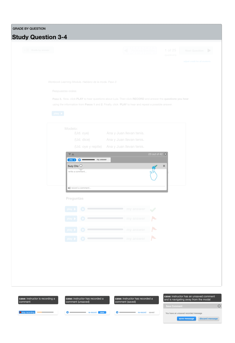 For Flash-based assignments, a overlay and modal is used so that instructors can rapidly grade content and leave comments.