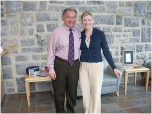 Laura with Rick Mattioni at WVTF Public Radio, Roanoke, Virginia