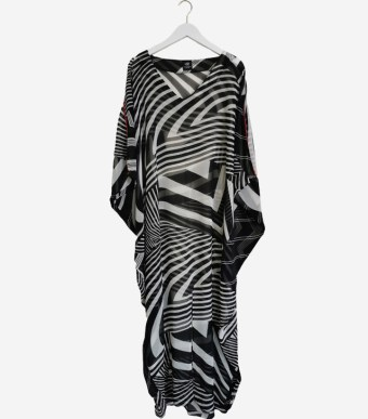 caftan long black white M