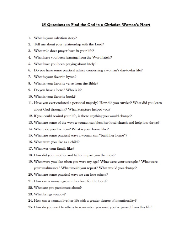 25 Questions to Find the Gold in a Christian Womans Heart