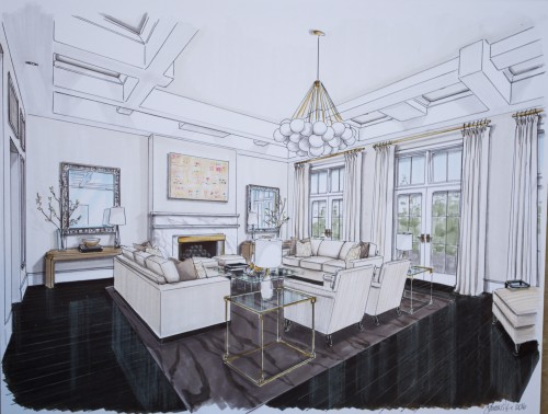 Living Room Perspective 1 - Dark Rug