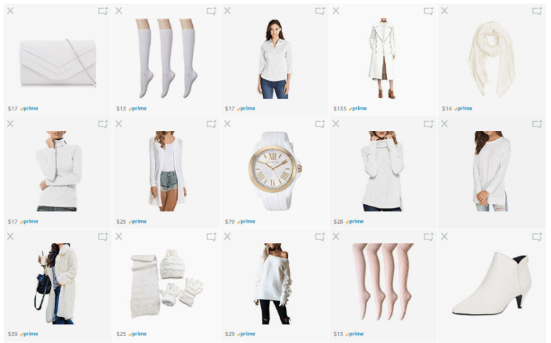 What We Want Wednesday Winter Whites Amazon List Screenshot