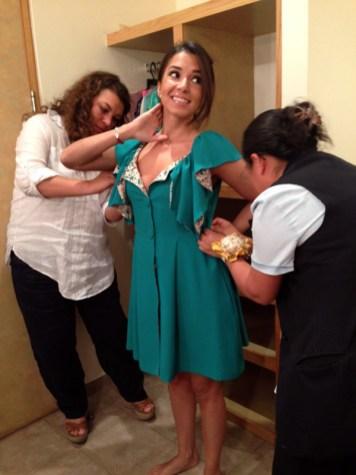 Aquí en prueba de vestuario para Sabadazo...