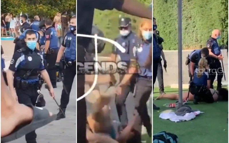 pelea entre bañistas y policías