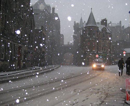 Snowy Night, Edinburgh, Scotland