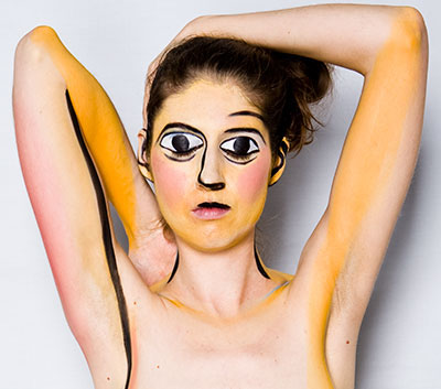 'Picasso recreation' Laüra Hollick as a Picasso painting. Part of the 'Masterpiece series'. Photo by Kevin Thom. Body painting by Tamara Mitchell