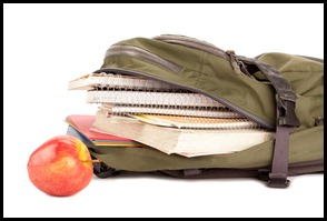school bag and apple