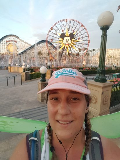 A much more confident me, now enjoys getting my picture taken. This selfie was taken on the Tinkerbell Half Marathon course, at California Adventure.