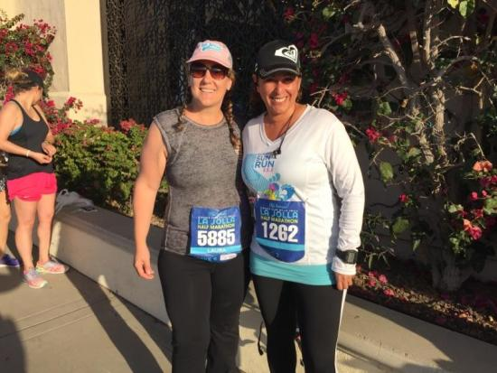 Me and my dear friend, Mollie before the race, at the starting line.
