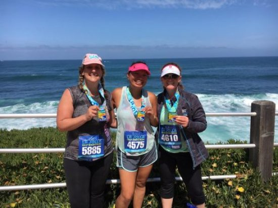 I trained with these two lovely ladies---Thanh and Pam. We tackled that Torrey Pines hill more than once. Here we are at the finish line.