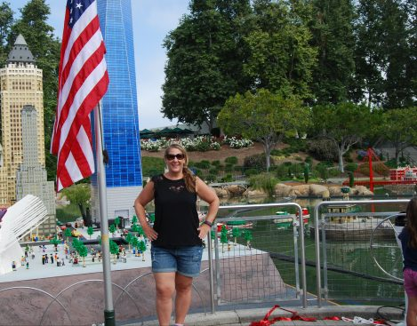 Me, in front of the new Freedom Tower at Legoland.