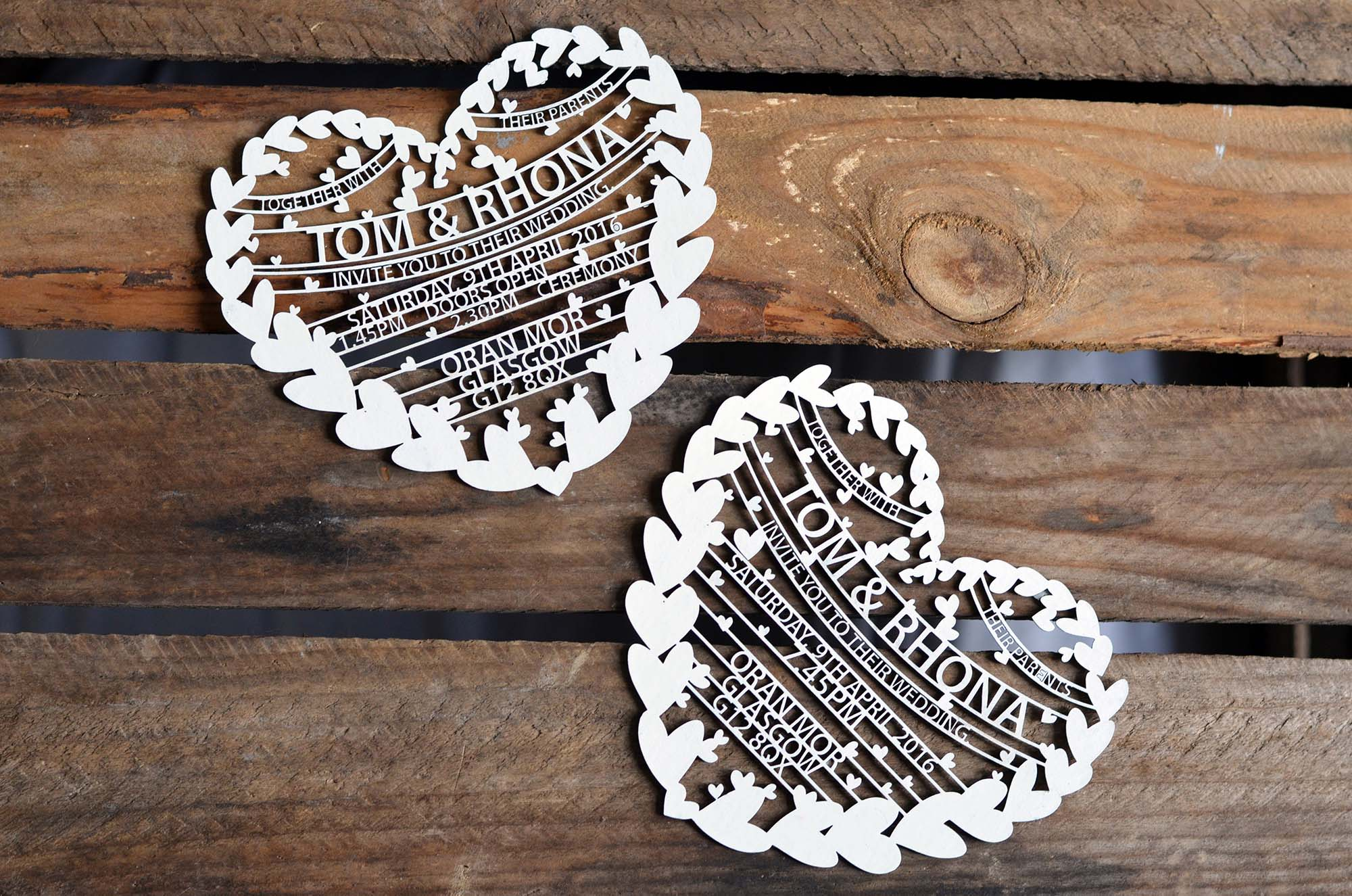 Handmade Laser Cut Wedding Invitations