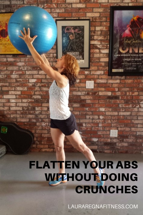 FLATTEN YOUR ABS WITHOUT DOING CRUNCHES- USING A FITNESS BALL-Laura Regna Fitness