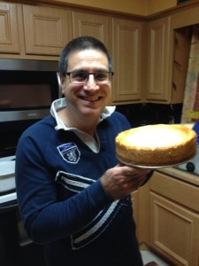 And he bakes! This was his Thanksgiving cheesecake, before I drowned it in the homemade toffee sauce.