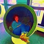 Laura in a Listening Pod