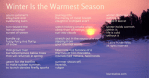 Winter Is the Warmest Season, a free verse poem by Laura Purdie Salas