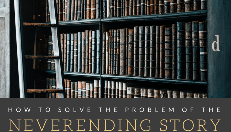 """Image of library books, with text """"How to solve the problem of the neverending story or knowing when to stop"""" written underneath the image"""