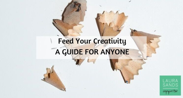 """Pencil shavings. Title in black text reads """"Feed your creativity. A guide doe anyone"""""""