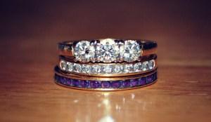 Amethyst and diamond wedding ring stack