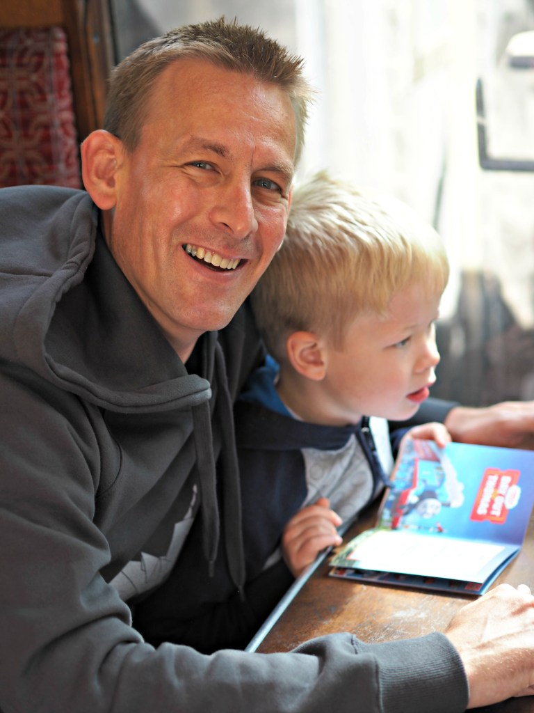 Day out with Thomas at the Watercress Line - Ben and Logan on the train