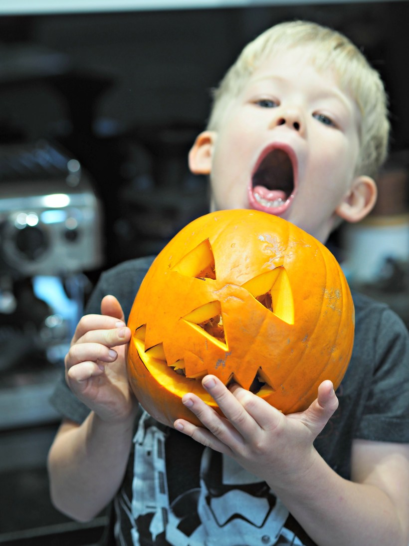 Healthy Halloween Making Pumpkin and Coconut Noodle Soup with Aldi