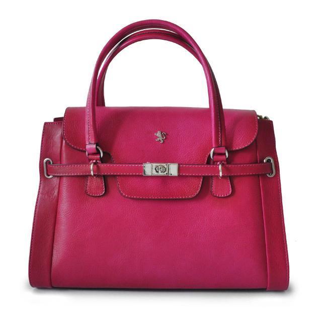 Leather grab bag - cerise pink
