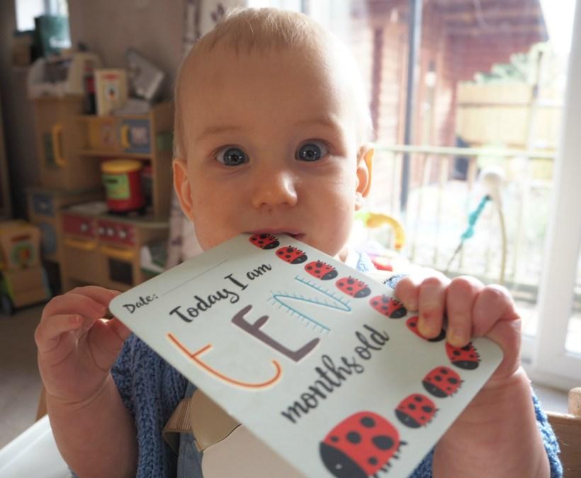 Bodhi at 10 months - eating milestone card