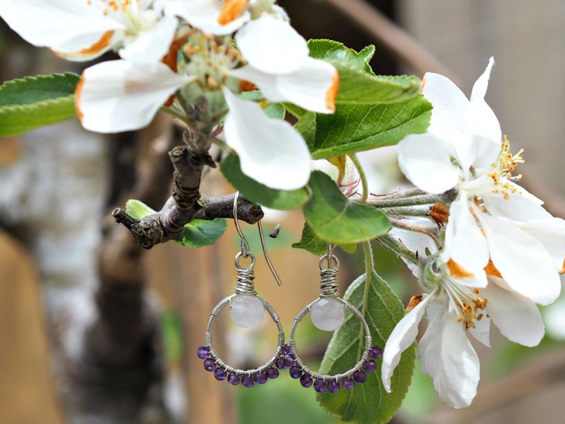Carolyn Anne Jewellery Review - Amethyst and Rose Quartz earrings
