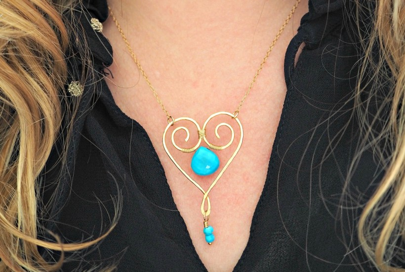 Carolyn Anne Jewellery gold and turquoise heart pendant