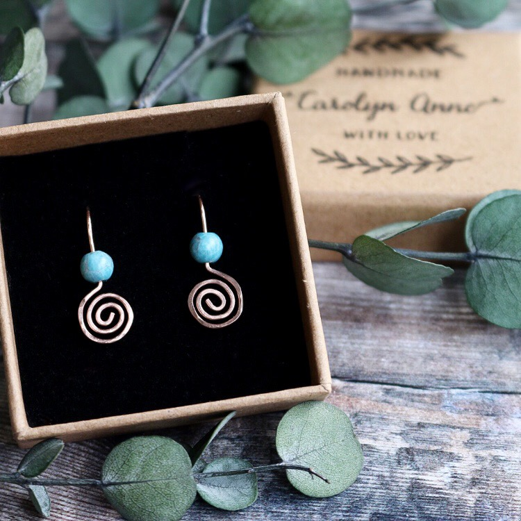 14k Rose Gold Filled Swirl Larimar Earrings
