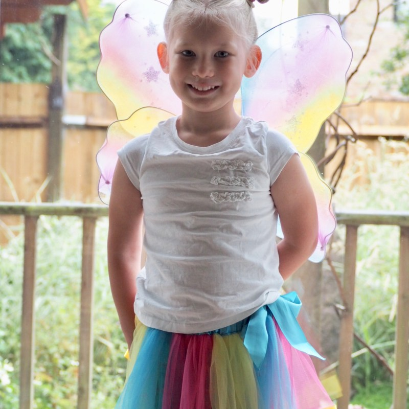 Aria in her costume for the ugly bug ball at school on her penultimate day of reception