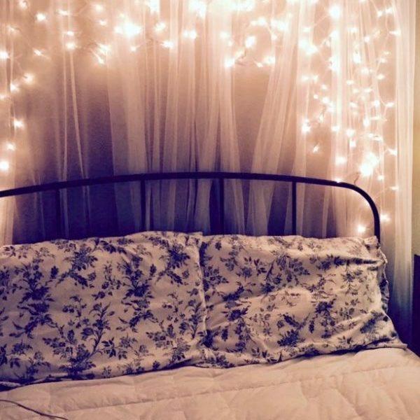 boho fairy light wall