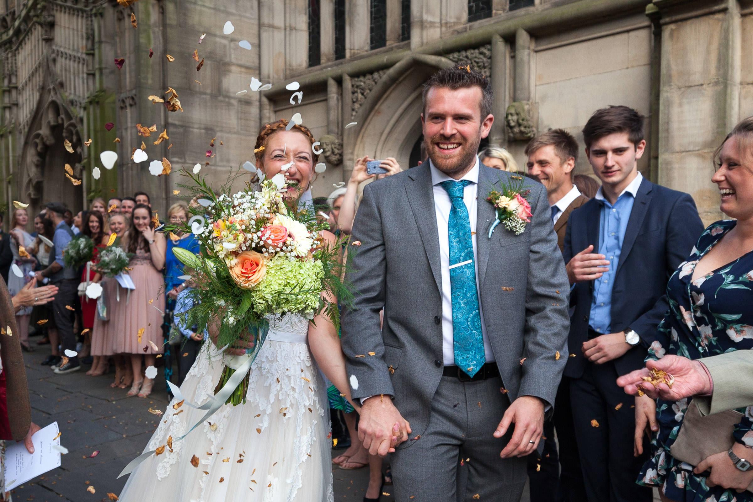 bride and groom leaving Marys church Nottingham
