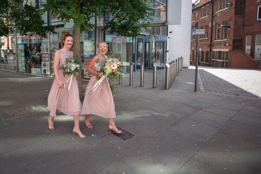 Bridesmaids walk to the Nottingham Council House, Nottingham Wedding