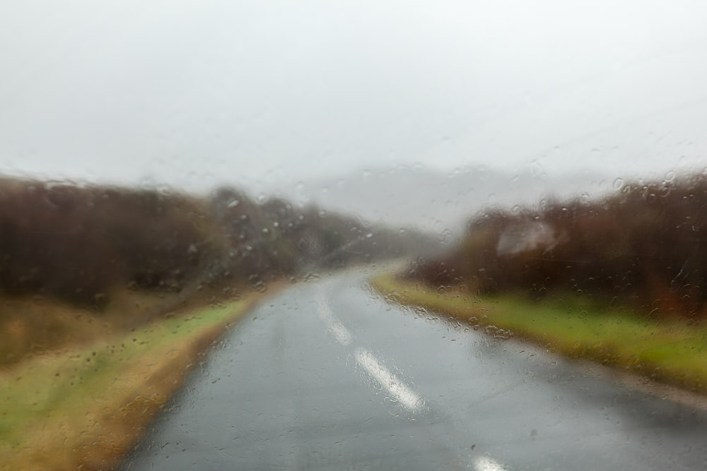 A dreich day, rain on windscreen