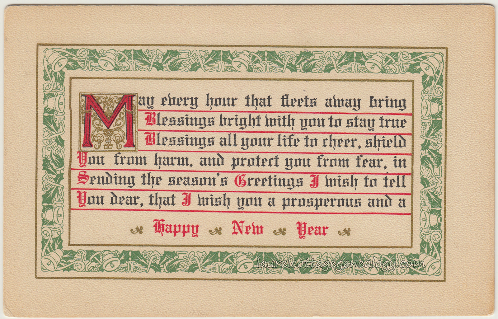Vintage New Year Postcards With Poems Laurel Cottage