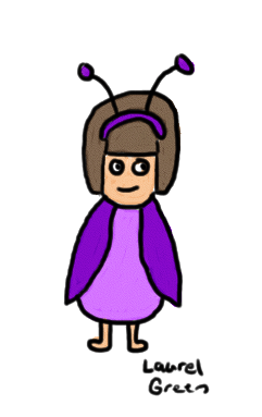 a drawing of a girl in a bug costume