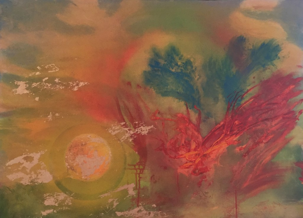 """Painting by Laurel Landers titled """"Red Dragon Eats Planet Earth"""""""