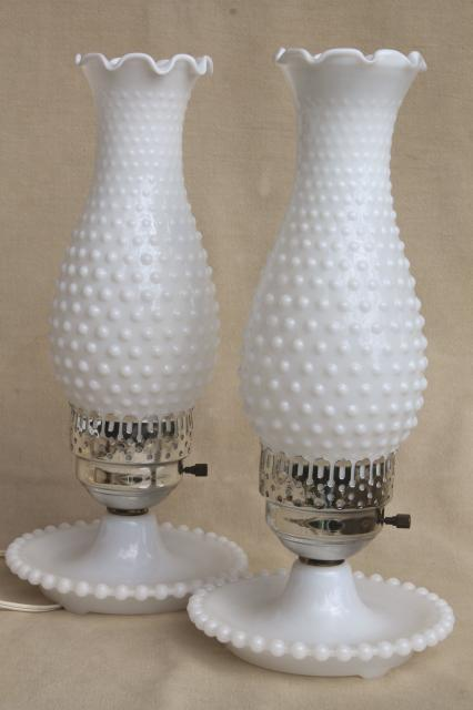 Pair Vintage Milk Glass Lamps W Beaded Edge Lamp Bases Hobnail Glass Chimney Shades