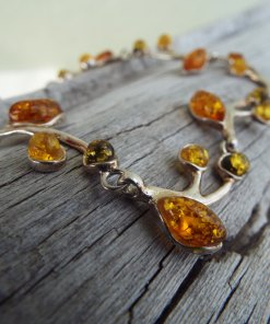Amber Bracelet Silver Cuff Dangle Chain Sterling 925 Handmade Gemstone Gothic Dark Antique Vintage Jewelry βραχιολι ασημι κεχριμπαρι