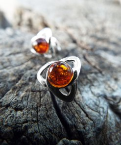 Amber Earrings Studs Triquetra Gemstone Stone Handmade Silver Celtic Gothic Dark Sterling 925 Jewelry