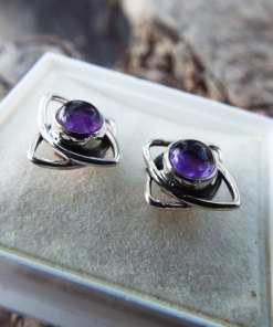 Amethyst Earrings Silver Studs Gemstone Flower Handmade Sterling 925 Purple Gothic Dark Jewelry