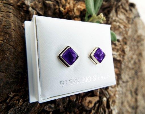 Amethyst Earrings Silver Studs Gemstone Handmade Sterling 925 Purple Gothic Dark Jewelry