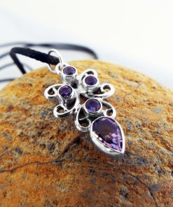 Amethyst Pendant Silver Gemstone Handmade Necklace Sterling 925 Gothic Dark Vintage Antique Jewelry