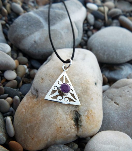 Amethyst Pendant Silver Handmade Sterling 925 Necklace Protection Triangle Jewelry Boho
