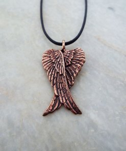 Angel Wings Pendant Handmade Necklace Feather Gothic Dark Bronze Jewelry